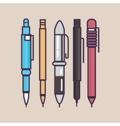 pen ballpoint pencil set outline thin vector image