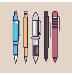 Pen ballpoint pencil set outline thin vector