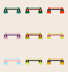 Rail way bridges icons set for web mobile and vector
