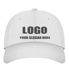 realistic front view white baseball cap with logo vector image vector image