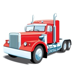 Red semi truck vector
