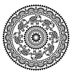 Round mehndi indian henna tattoo pattern vector