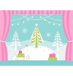 School or theatre stage decorations for christmas vector