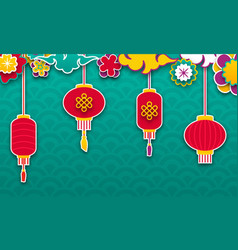 Set chinese lanterns for happy new year lamps and vector