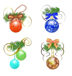 Set of Christmas ball vector image