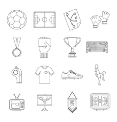 Soccer football icons set outline style vector
