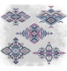 Tribal element patterns on grunge background vector image