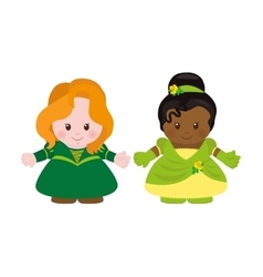 Two princesses cartoon style vector image