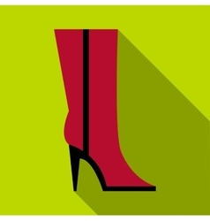 Woman high boot icon flat style vector