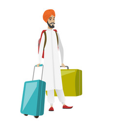 young hindu man traveler with many suitcases vector image vector image