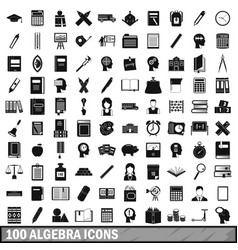100 algebra icons set simple style vector