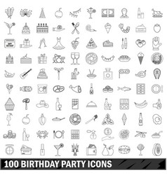 100 birthday party icons set outline style vector