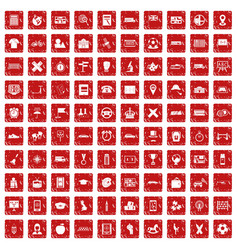 100 bus icons set grunge red vector