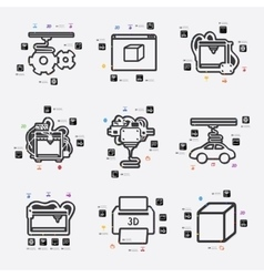 Three d printer infographic vector