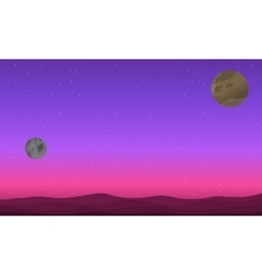 Planet outer space on purple backgrounds vector image