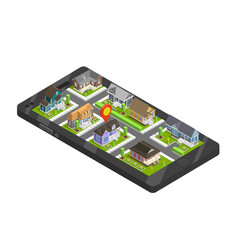 Town buildings smartphone concept vector