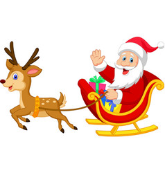 Cartoon santa drives his sleigh vector