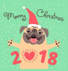 merry christmas 2018 card with dog funny pug vector image