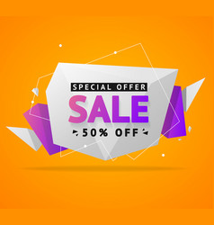 Sale concept label flyer card origami style vector