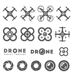 Set of aerial drone footage emblems and icons vector image