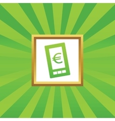 Euro on screen picture icon vector