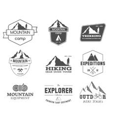 Set of monochrome outdoor adventure explorer camp vector