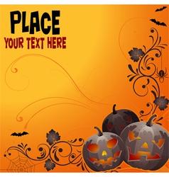 halloween background with bat pumpkin floral vector image