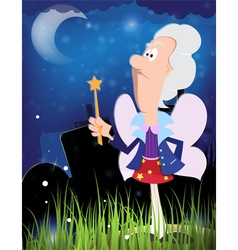 Fairy godmother with magic wand vector