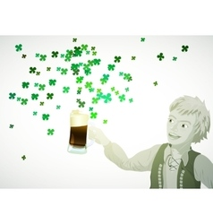 St patricks day green shamrock from beer vector