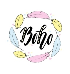 Hand drawn sign in boho style with handdrawn vector