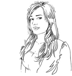 Hand-drawn of beautiful romantic woman mono vector