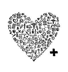 Heart shape with medical icons vector image