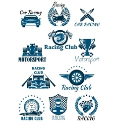 Isolated icons for racing and motorsports vector