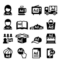 Advertising icon set vector