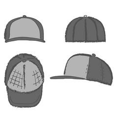 baseball tennis rap cap outlined template vector image