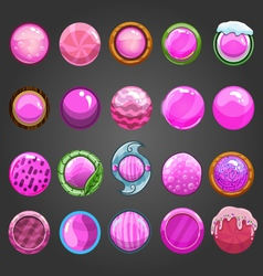 Big set of round pink button vector image vector image