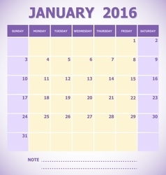 Calendar January 2016 week starts Sunday vector image vector image