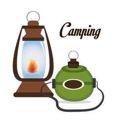 Camping lamp with canteen isolated icon design vector