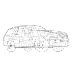 Car suv drawing outline vector