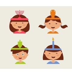 children celebrating Hanukkah vector image