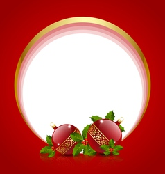 Christmas balls decoration with holly vector image vector image