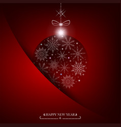 christmas red background with ball with snowflakes vector image vector image