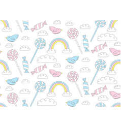 Cute candy pattern bird with rainbow vector