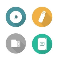 Digital data storage devices flat design icons set vector