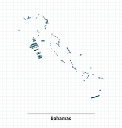 Doodle sketch of Bahamas map vector image vector image