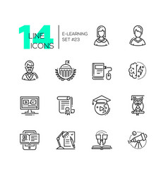 elearning- modern single line icons set vector image vector image