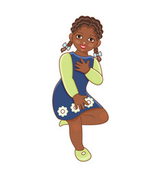 flat african black girl dancing in dress vector image vector image