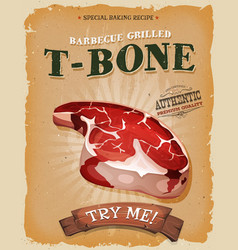 Grunge and vintage t-bone steak poster vector