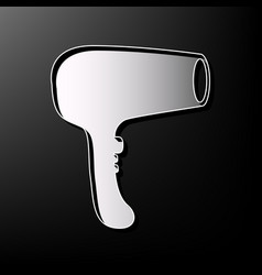 Hair dryer sign gray 3d printed icon on vector