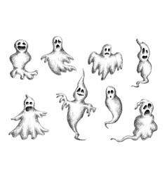 Halloween flying spooks and ghosts vector image vector image